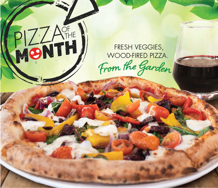 January Pizza of the Month, From The Garden. Fresh Veggies. Wood-Fired Pizza.