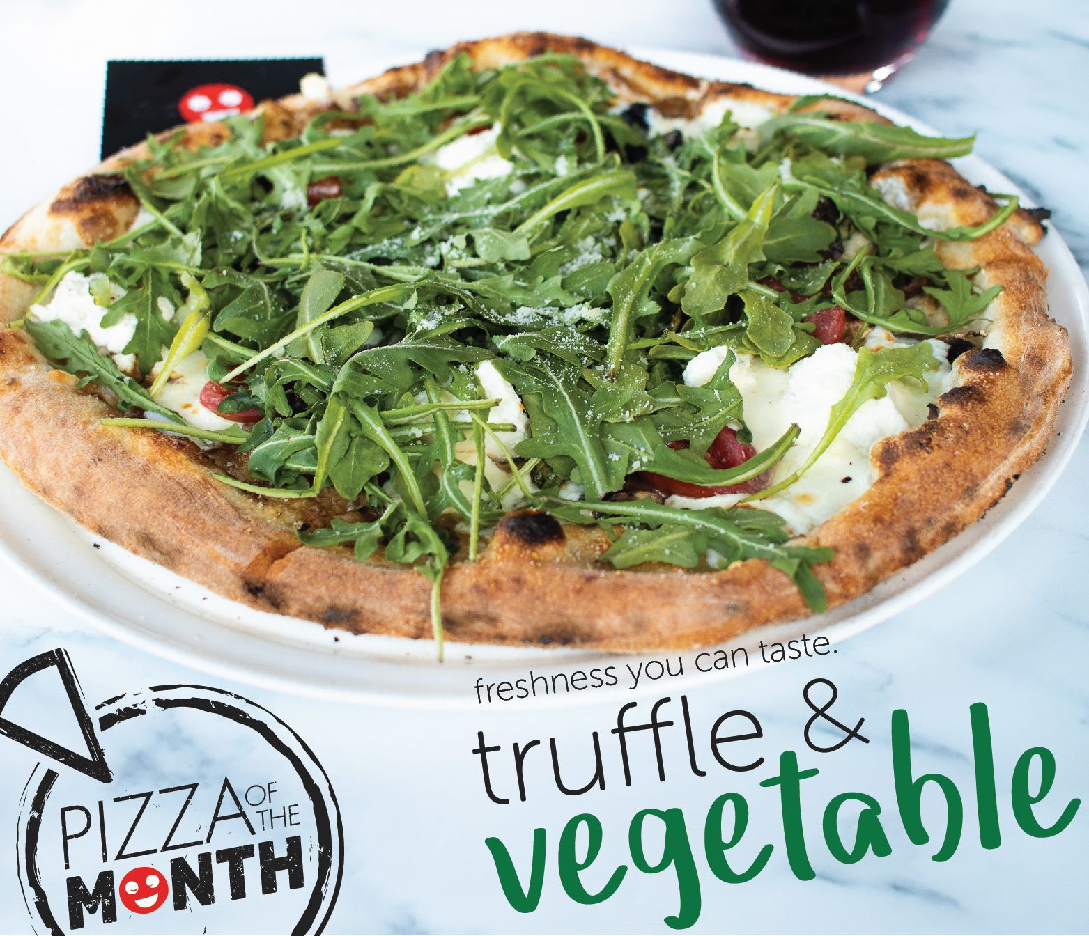 March Pizza of the Month, truffle & vegetable.